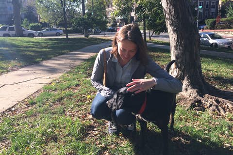 Jean crouching to pet Sapphie on a bright fall day in the park
