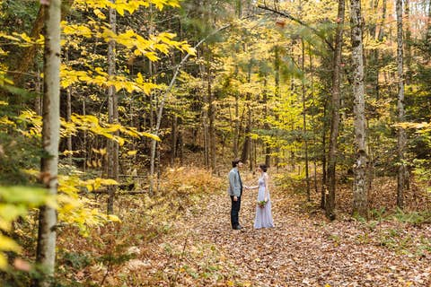 Oliver and Jean standing among fallen leaves in the woods under an arch shape made naturally by trees