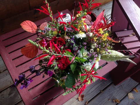 bouquet of red, green and purple wildflowers from ceremony in a vase by Adirondack chairs on the cabin porch