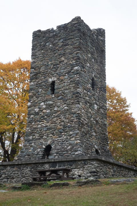 looking up at a 54 foot tall stone tower in Hubbard Park